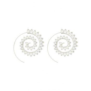 Hollow Out Geometric Big Spiral Hook Earrings - SILVER SILVER