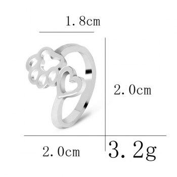 Heart Claw Footprint Cute Ring - SILVER ONE-SIZE