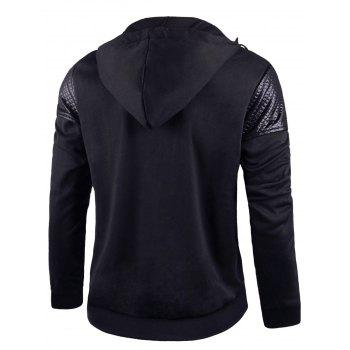 Leatherette Panel Drawstring Asymmetric Zip Hoodie - BLACK L