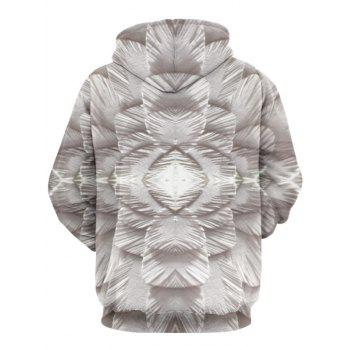 Kangaroo Pocket Drawstring 3D Printed Hoodie - GRAY XL