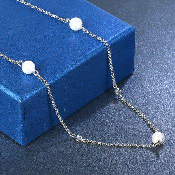 False Crystal Pearl Embellished Pendant Necklace - SILVER