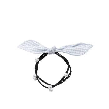 Faux Pearl Bows Elastic Hair Band - GRAY
