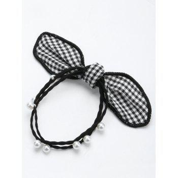 Faux Pearl Bows Elastic Hair Band - BLACK BLACK