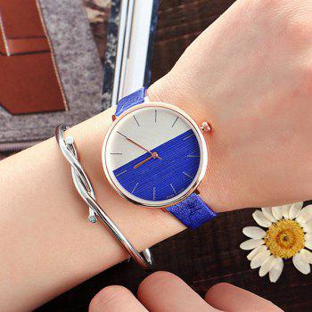 Color Block Face Faux Leather Strap Watch - BLUE