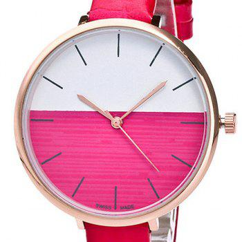 Color Block Face Faux Leather Strap Watch - TUTTI FRUTTI