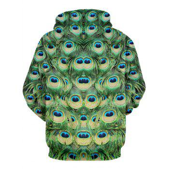 Peacock Feather Pattern Drawstring Pullover Hoodie - GREEN 2XL
