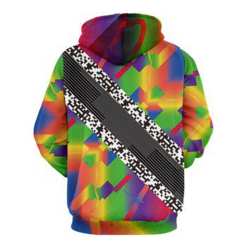 QR Code Pattern Colorful Pullover Hoodie - COLORMIX XL