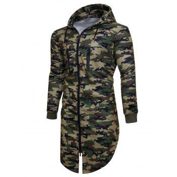 Longline Fleece Camouflage Zip Up Hoodie - ARMY GREEN CAMOUFLAGE XL