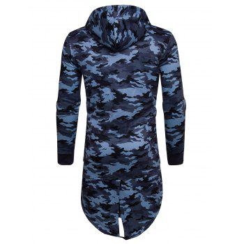 Longline Fleece Camouflage Zip Up Hoodie - BLUE XL