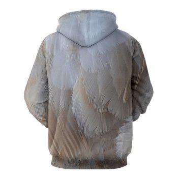Feather Pattern Kangaroo Pocket Drawstrimg Hoodie - GRAY 2XL
