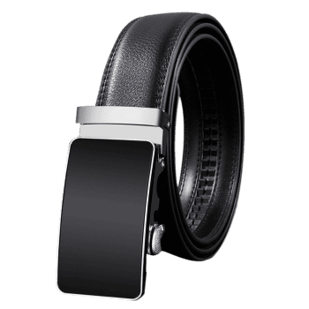 Metal Polished Buckle Decoration Artificial Leather Belt - BLACK 110CM