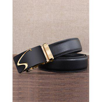 S Pattern Carved Automatic Buckle Faux Leather Belt - GOLDEN GOLDEN