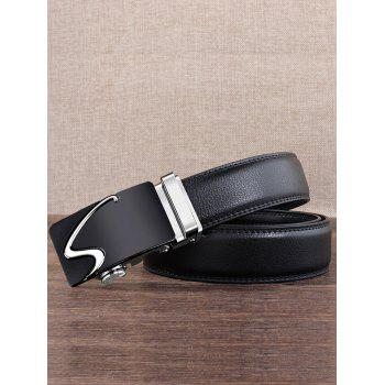 S Pattern Carved Automatic Buckle Faux Leather Belt - SILVER 110CM