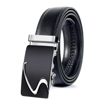 S Pattern Carved Automatic Buckle Faux Leather Belt - SILVER SILVER