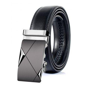 Attractive Automatic Metal Buckle Artificial Leather Belt - SILVER SILVER