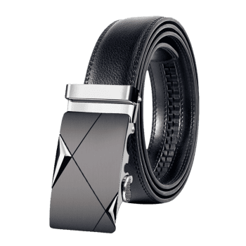 Attractive Automatic Metal Buckle Artificial Leather Belt - SILVER 130CM