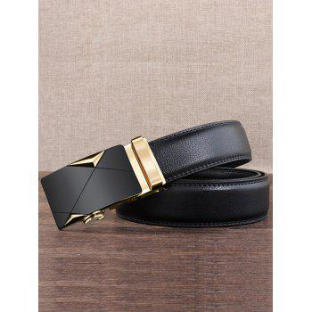 Carved Metal Buckle Decoration Artificial Leather Belt - GOLDEN 120CM