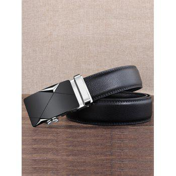 Carved Metal Buckle Decoration Artificial Leather Belt - SILVER 110CM