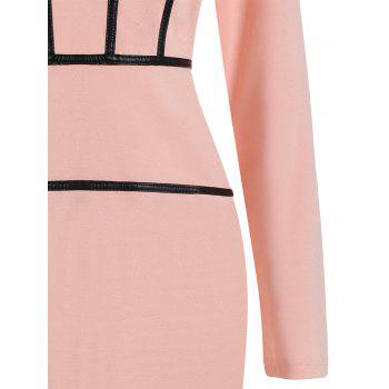 PU Trim Long Sleeve Party Pencil Dress - PINK PINK