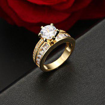 Fake Diamond Metal Lover's Ring - GOLDEN GOLDEN