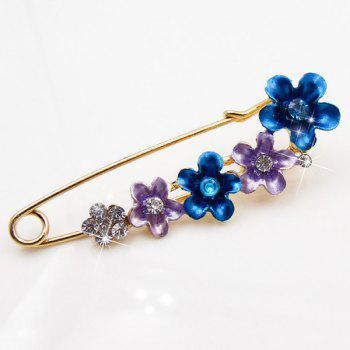 Flower Faux Crystal Ornament Brooch -  BLUE