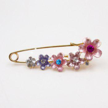 Flower Faux Crystal Ornament Brooch - PINK PINK