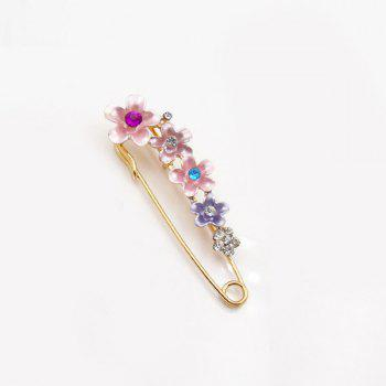 Flower Faux Crystal Ornament Brooch - PINK