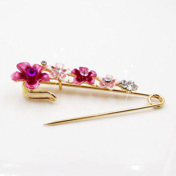 Flower Faux Crystal Ornament Brooch - RED