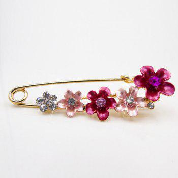 Flower Faux Crystal Ornament Brooch - RED RED