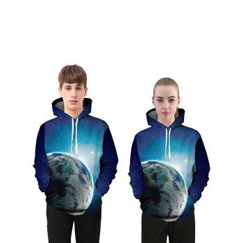 3D Space Print Drawstring Pullover Hoodie - COLORMIX XL