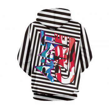 Drawstring Pullover Graphic Pattern Striped Hoodie - COLORMIX L