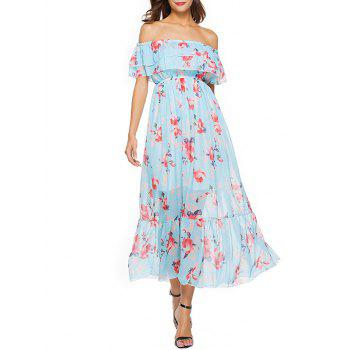 Short Sleeve Floral Print Chiffon Dress - FLORAL FLORAL