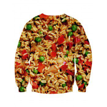 Sweat-shirt Ras du Cou Imprimé Nourriture 3D - multicolore L