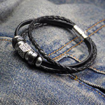Leather Character Layered Wrap Bracelet - BLACK