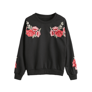 Drop Shoulder Flower Appliques Sweatshirt - BLACK S