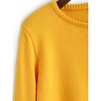 Plain Cropped Pullover Sweater - YELLOW M