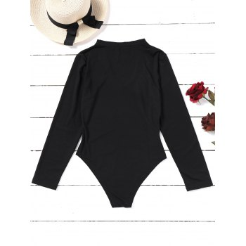 Choker Lip Embroidered Patches Bodysuit - BLACK XL