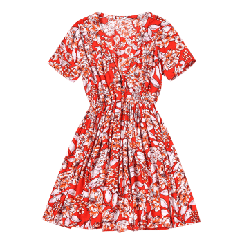 Floral Half Buttoned Short Sleeve Mini Dress - RED M