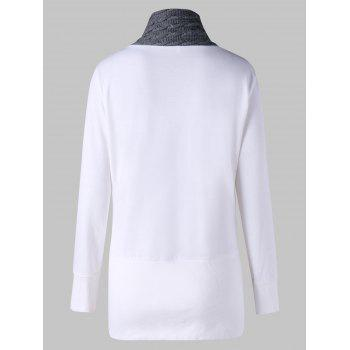 Cable Knit Insert Plus Size Tunic Sweatshirt - WHITE 5XL