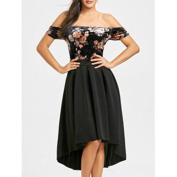 Off Shoulder Floral Velvet Dip Hem Dress - BLACK BLACK
