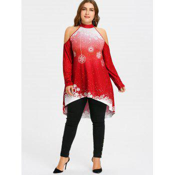 Christmas High Low Cold Shoulder Plus Size T-shirt - RED 2XL