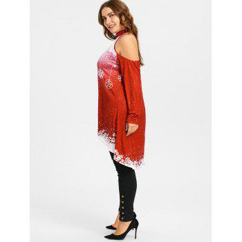 Christmas High Low Cold Shoulder Plus Size T-shirt - RED 5XL