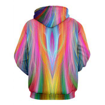 Kangaroo Pocket Drawstring Irregular Stripe Colorful Hoodie - COLORMIX 2XL