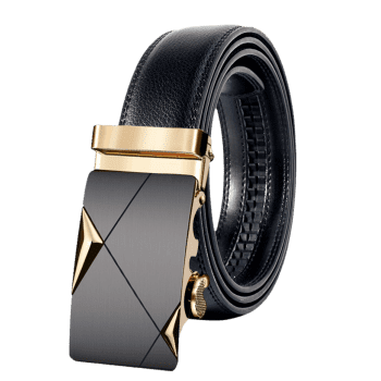 Attractive Automatic Metal Buckle Artificial Leather Belt - GOLDEN 110CM
