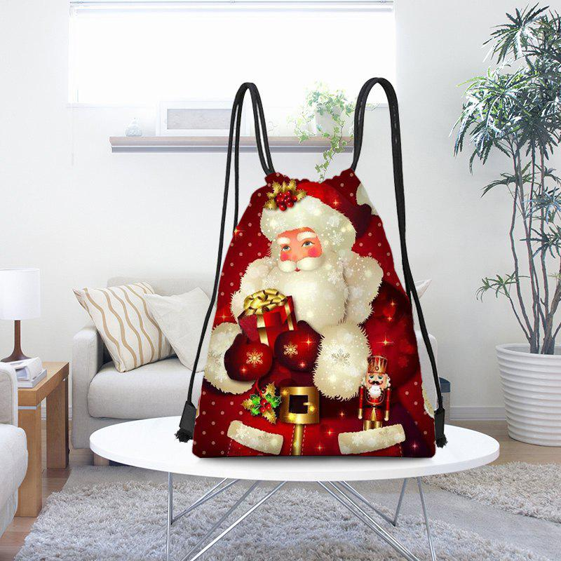 Santa Claus Patterned Drawstring Candy Bag Storage Bag - RED/WHITE