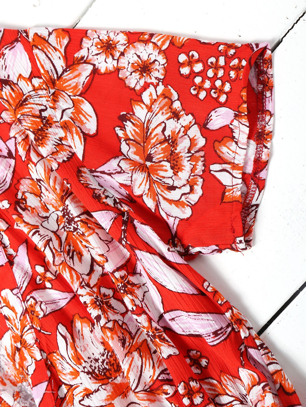 Floral Half Buttoned Short Sleeve Mini Dress - RED L