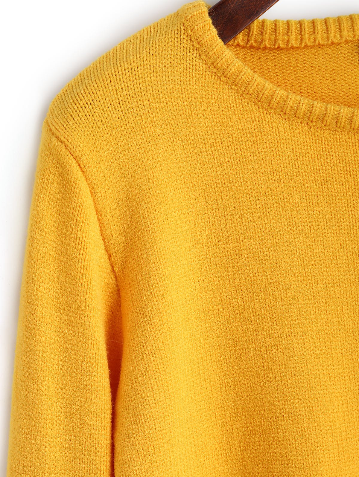 2017 Plain Cropped Pullover Sweater YELLOW S In Sweaters ...