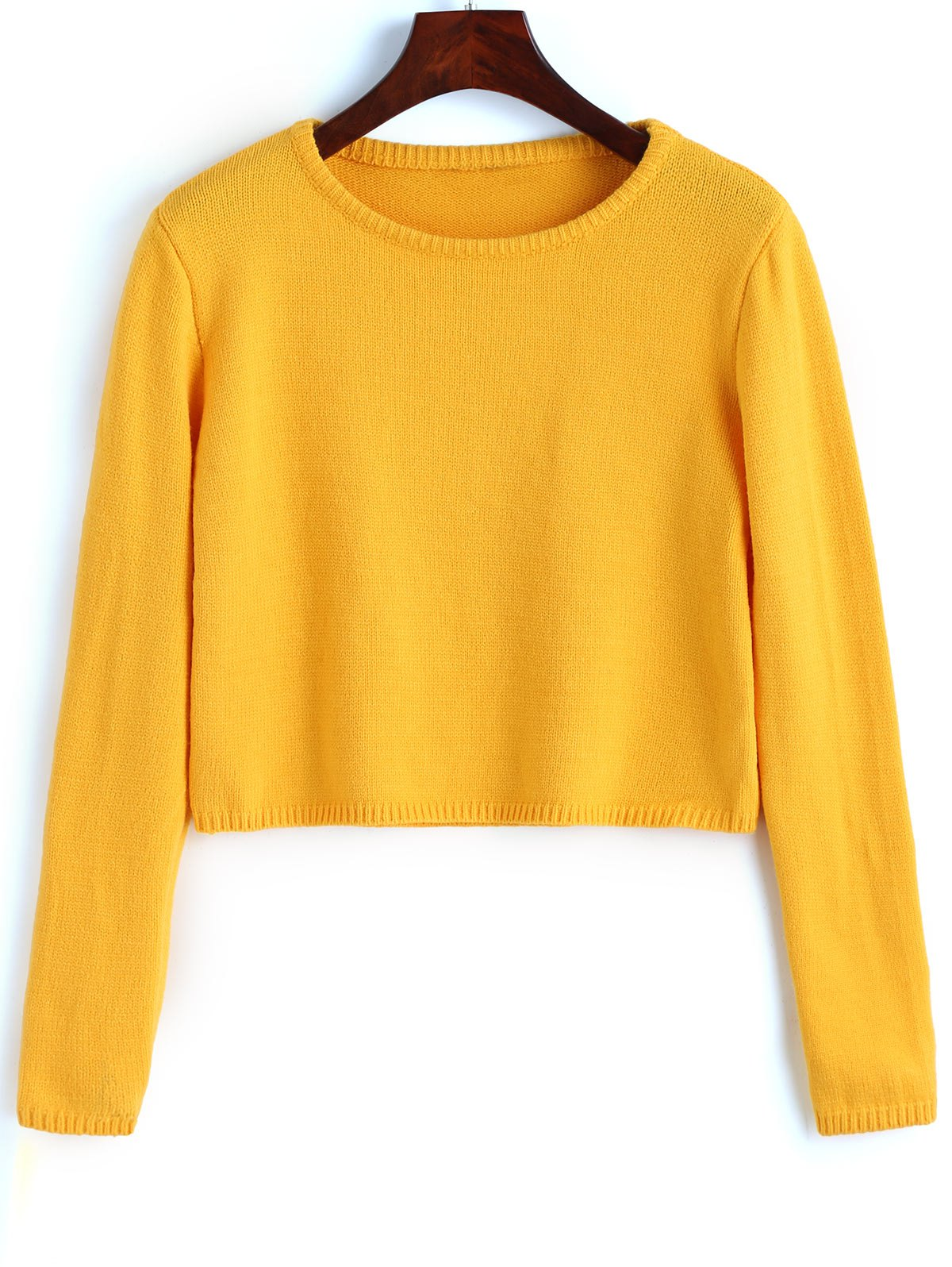 2018 Plain Cropped Pullover Sweater YELLOW M In Sweaters ...