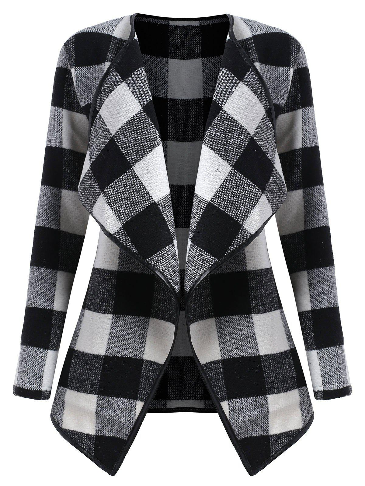 Drape Plus Size Plaid Coat - BLACK WHITE 2XL