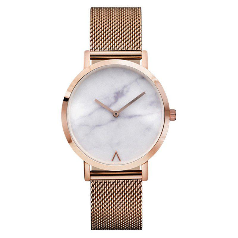 Marble Face Alloy Mesh Strap Watch - ROSE GOLD
